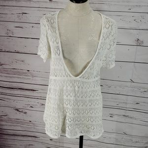 Stamp 10 Deep V white Crochet Swimsuit coverup